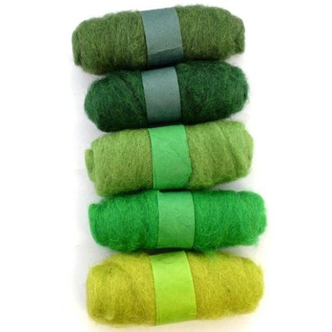 Felting Fibre Wool 20g - Assorted Bright Greens (5 Pack)
