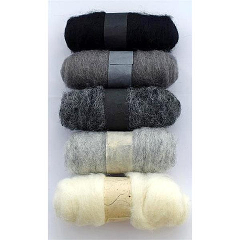 Felting Fibre Wool 20g - Assorted Greys (5 Pack)