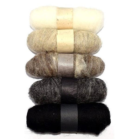 Felting Fibre Wool 20g - Assorted Natural (5 Pack)