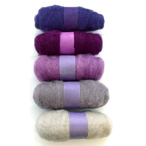 Felting Fibre Wool 20g - Assorted Purples (5 Pack)