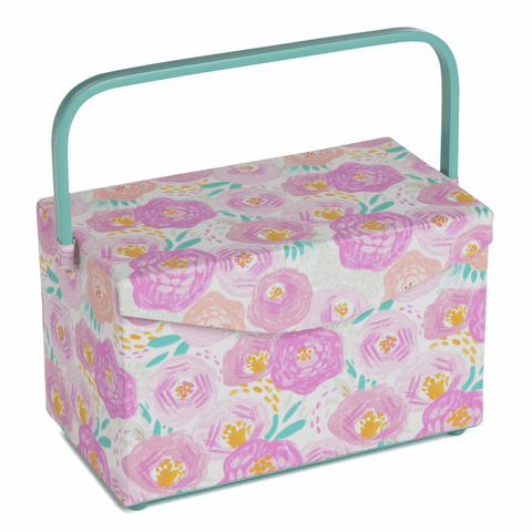 Sewing Box: Fold Over Lid: PVC Handle: Floral Dream