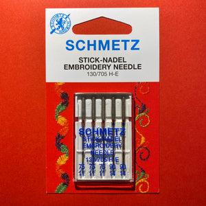 Schmetz Embroidery Needles 130/705H-E 75/11 and 90/14 - 5 pack