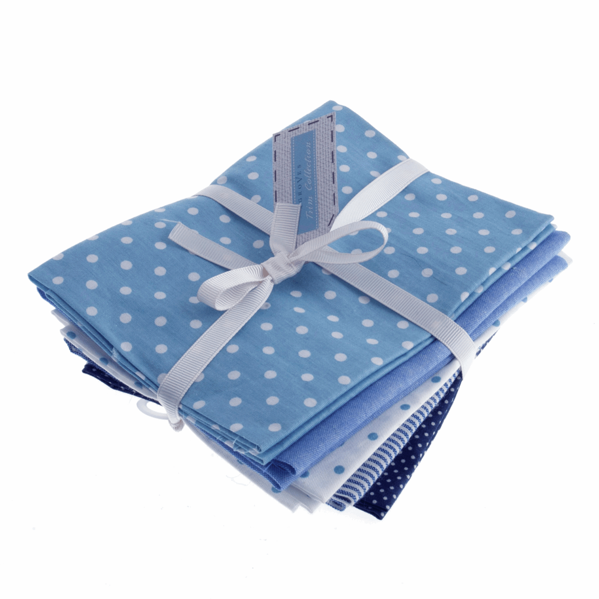 Fat Quarter Pack - Cotton Linen - Blue (5 Pieces)