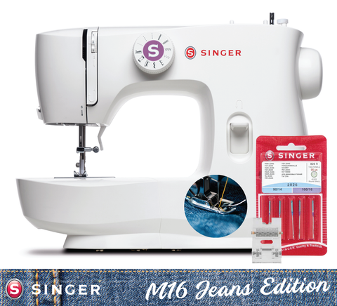 Singer Masterstitch 16-05 Jeans Edition Sewing Machine - with Jeans Needles and Heavy Duty Roller Foot, Heavy Duty Metal Frame - Latest 2020 model, Sews silk to heavy denim