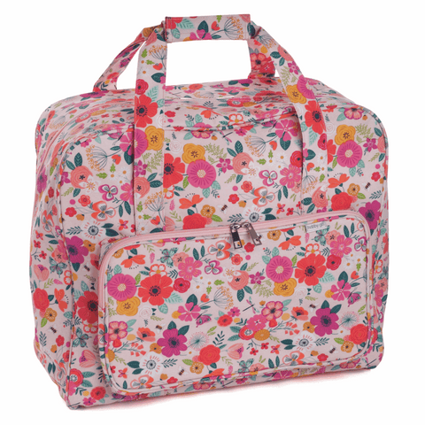 Floral Garden Sewing Machine Bag Pink (Matt PVC)