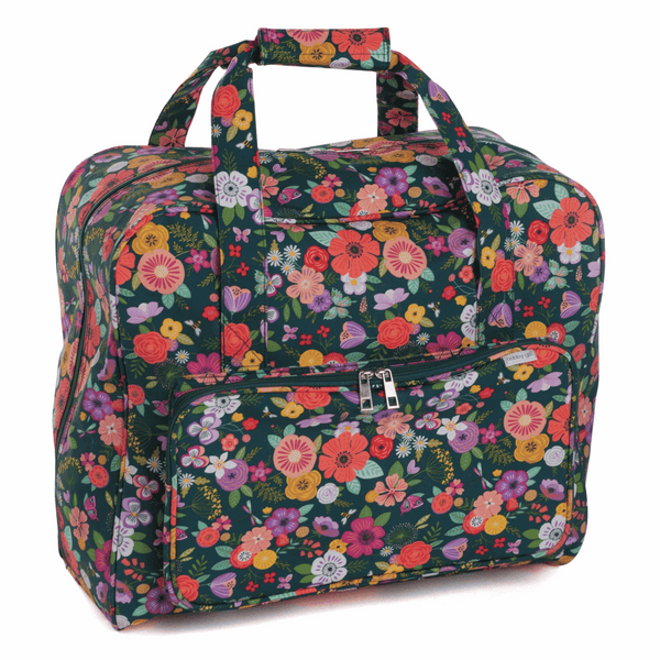 Floral Garden Sewing Machine Bag Teal (Matt PVC)