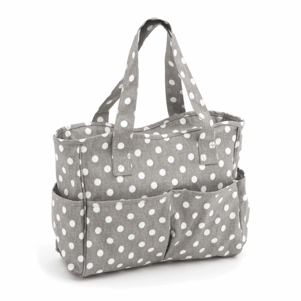 Deluxe Craft Bag - Grey Linen Polka Dot
