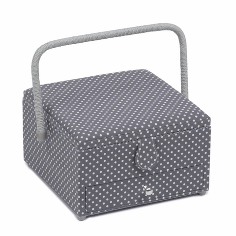 Mini Grey Spot Sewing Box with Drawer - Large