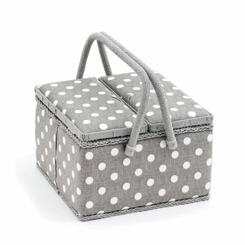 Sewing Box - Large with Twin Lid (Square) Grey Linen Polka Dot