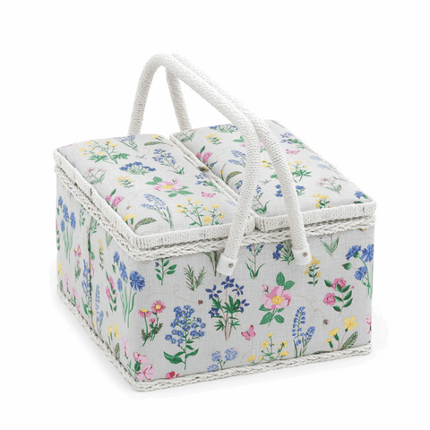 Spring Garden Sewing Box with Twin Lid - Large Square