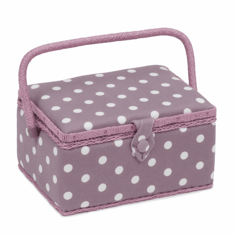 Mauve Spot Sewing Box - Medium