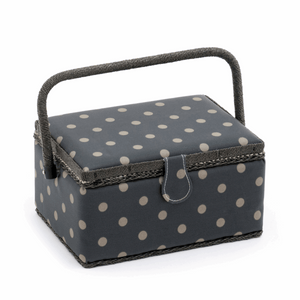 Charcoal Polka Dot Sewing Box - Medium (Matt PVC)