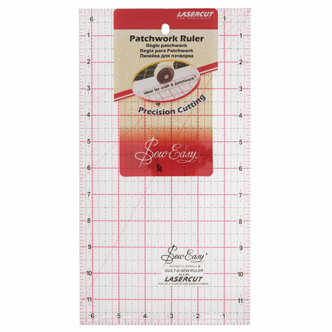 Sew Easy Quilting Patchwork Ruler - 12 x 6.5in
