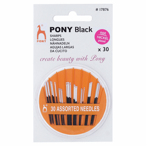 Pony Hand Sewing Needles - Assorted Black with White Eye