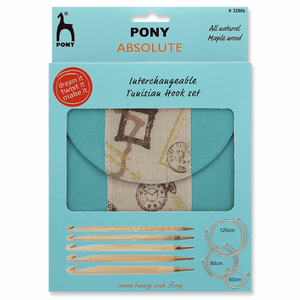 PONY Crochet Hook Set - Absolute, Blue Ribbon Maple 15cm