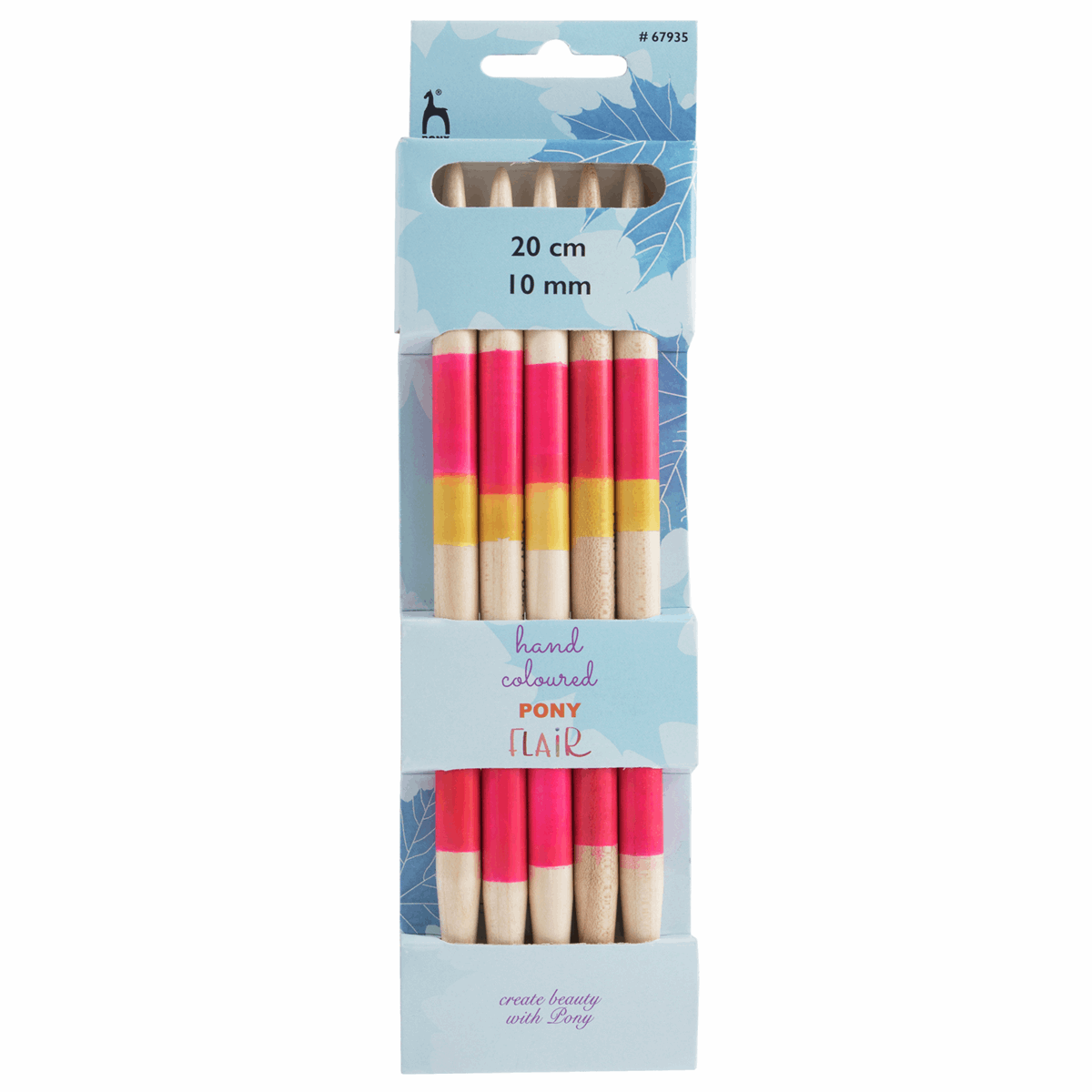 PONY Set of 5 Double-Ended Flair Coloured Knitting Pins - 20cm x 10mm