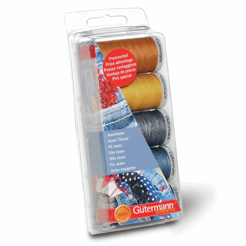 Gutermann Thread Set Jeans 3 x 100m, 2 x 200m Blues and Golds