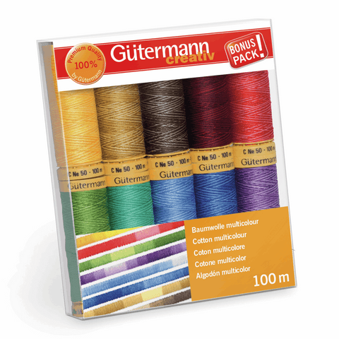Gutermann Thread Set Natural Cotton C No 50 10 x 100m Assorted