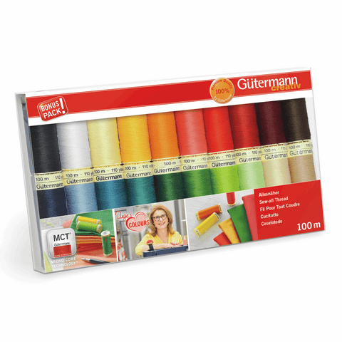 Gutermann Thread Set Sew-All 100m Pack of 20 Assorted