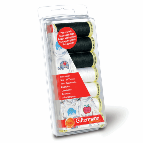 Gutermann Thread Set Sew-All 7 x 100m Black & White