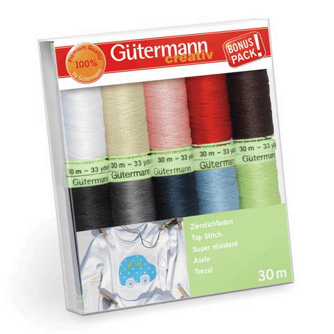 Gutermann Thread Set Top Stitch 10 x 30m Assorted