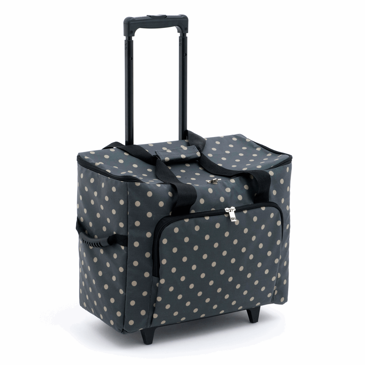 Charcoal Polka Dot Sewing Machine Trolley Bag
