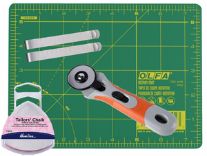 Fabric Cut and Sew Bundle - 45mm Rotary Cutter, A3 Cutting Mat, Tailors Chalk and Sewing Clips