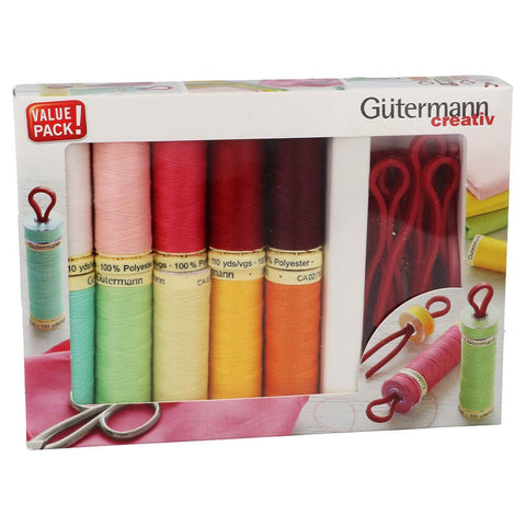Gutermann Sew-all Thread - 10 x 100m Assorted + 10 x bobbin clips set