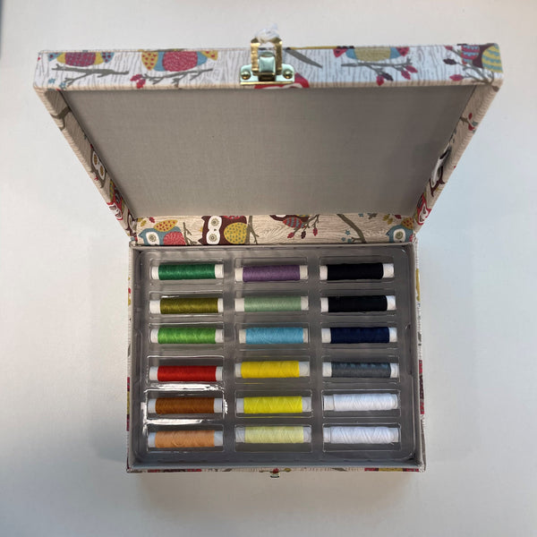 Hoot Hoot Thread Spool Storage Box with 18 x thread bundle