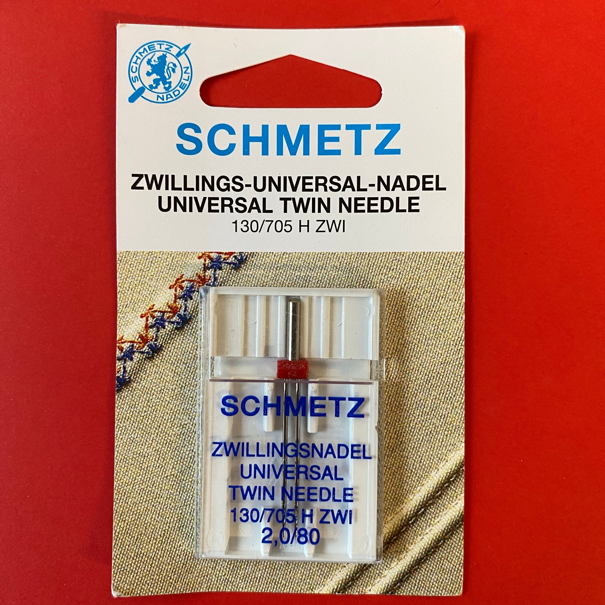 Schmetz Universal Twin Needle size 80, 2mm gap