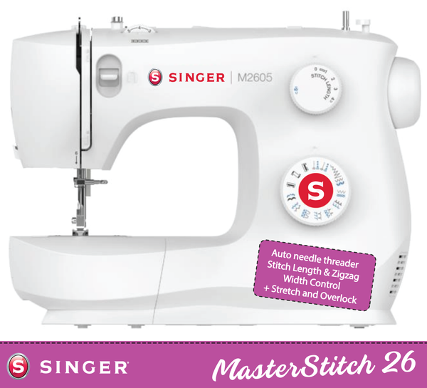 Singer MasterStitch 26-05 with Auto Needle Threader - with Stitch Length, ZigZag width control and Stretch stitches, Sew Silk to Leather - Preorder for delivery in November