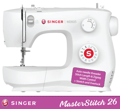 Singer MasterStitch 26-05 with Auto Needle Threader - with Stitch Length, ZigZag width control and Stretch stitches, Overcasting, Sew Silk to Leather - Preorder for December Delivery