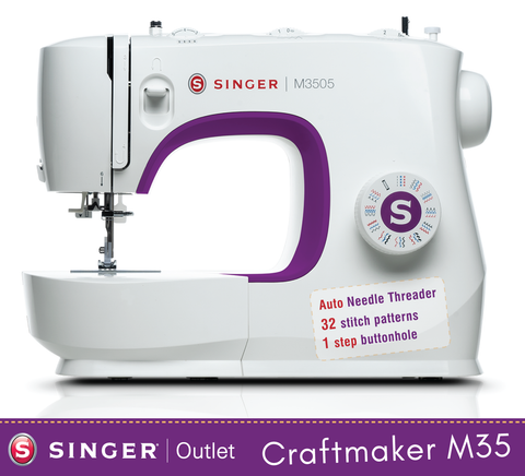 Singer Craftmaker M3505 - Ergonomic design, 32 stitch patterns with 1 step buttonhole and auto threader, overlocking and stretch stitches - Easy to use, strong machine - sews silk to leather