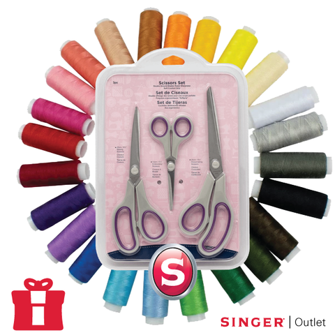 FREE Luxury Gift Bundle - 24 x Thread Set and 3 x Scissor Set - free with machine orders - max 1 per order