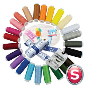 Singer Outlet Gift Bundle - 24 x threads, Heavy duty roller foot, Tape measure, Sew fun gel pen (max 1 per order)