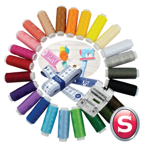 *** FREE with machine purchases today *** Singer Outlet Gift Bundle - 24 x threads, Heavy duty roller foot, Tape measure, Sew fun gel pen (max 1 per order)