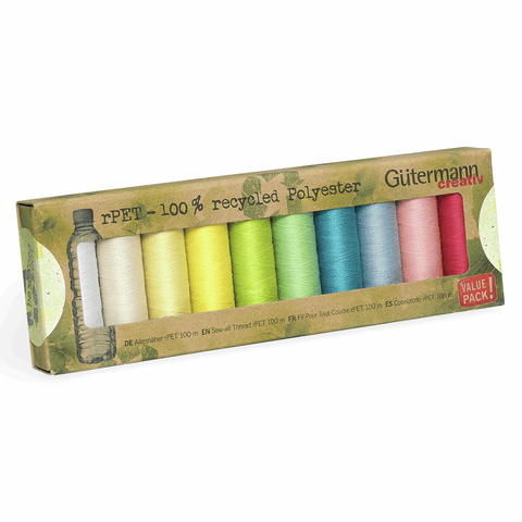 Gutermann Sew-all Thread rPET 100% recycled Polyester (pastels) - 10 x 100m Assorted