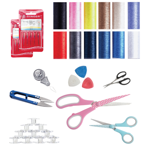 Sewing Bee Bundle Offer with 40 pieces - Thread Set, Scissor sets, Needle Pack, Bobbin Pack, Needle Threader, Thread cutter, Tailors chalk set