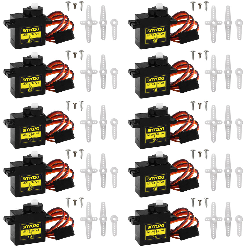 Smraza 10 Pcs SG90 9G Micro Servo Motor Kit for RC Robot Arm/Hand/Walking Helicopter Airplane Car Boat Control with Cable, Mini Servos Arduino Project - Black-S51-10-BK