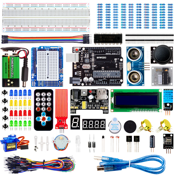 Smraza Super Starter Kit with Breadboard, Power Supply, Jumper Wires, Resistors, LED, LCD 1602, Sensors, Detailed Tutorial for Project, Compatible with Arduino-S26