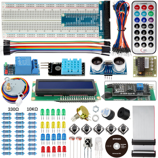 Smraza Basic Starter Kit for Arduino R3 Project with Tutorial, Breadboard, Jumper Wires, Resistors, LED, LCD 1602, Sensors-S32
