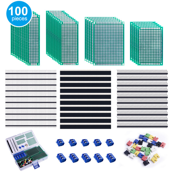 Smraza 100 Pcs Double Sided PCB Board Kit for DIY Soldering and Electronic Project Compatible with Arduino Kits, Include 30 Pcs Prototype Boards, 30 Pcs 40 Pin 2.54mm Male and Female Header Connector-S36