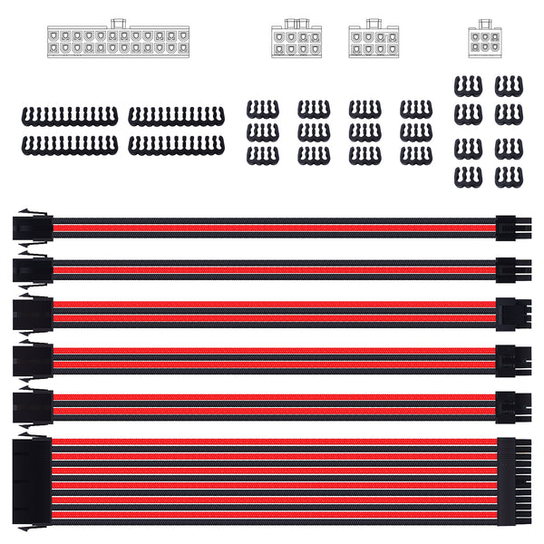 Smraza Sleeved Cable Extension Kit for Power Supply with Extra Sleeved, PSU Connectors, 24-Pin 8-Pin 6-Pin 4+4-Pin with Cable Combs(11.8 inch/ 30cm) (Red & Black)-SC23