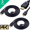 Smraza Micro HDMI to HDMI Cable, 2 PCS 6 Feet 4K Ultra HD Micro HDMI Cable Male to Female, Compatible for Raspberry Pi 4/3 B+, GoPro Hero, Action Camera/Cam-SC33