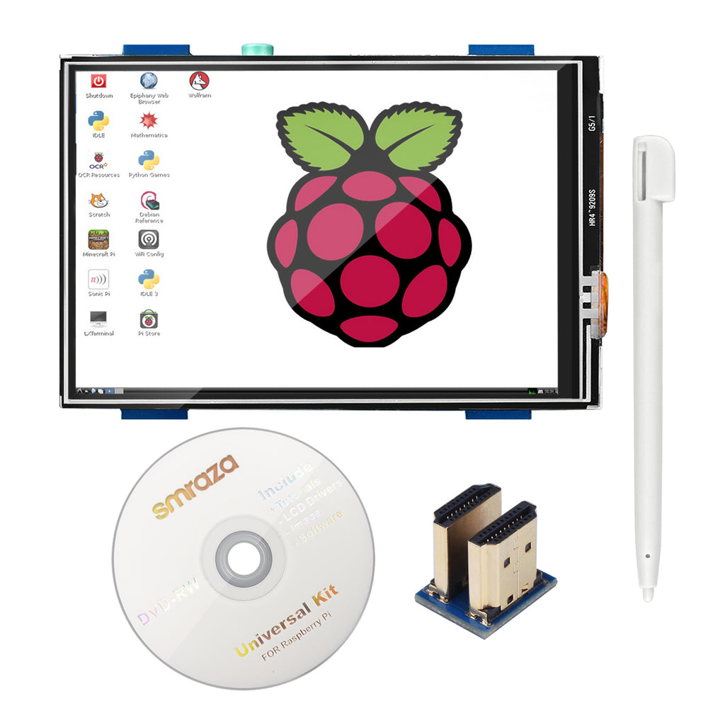 Smraza for Raspberry Pi 3 B+ TFT LCD Display, 3.5 Inch 480x320 TFT Touch Screen Monitor for Raspberry Pi 3 Mode B B+ A+ A SPI Interface with Touch Pen (3.5 inch HDMI RPI Screen)-SMP03