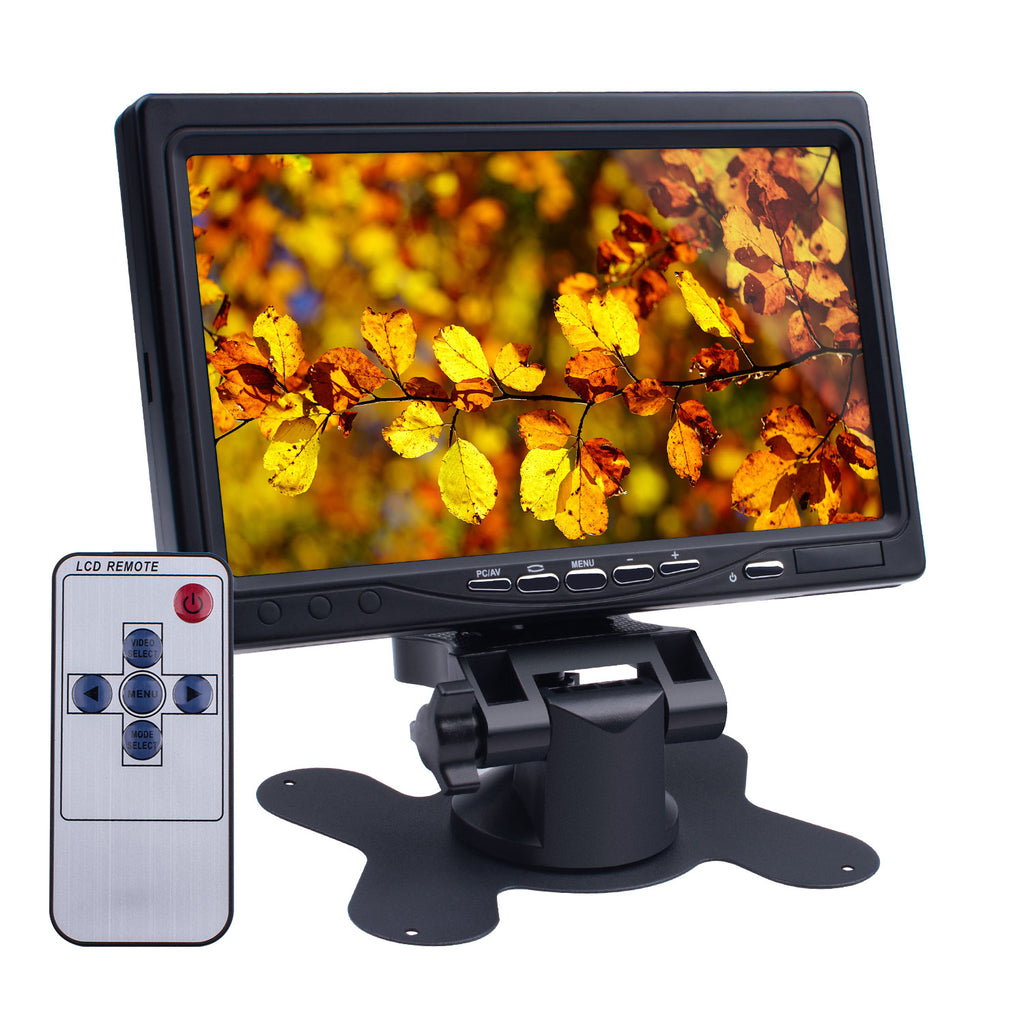 "Smraza 7 Inch HD Monitor 7"" Mini Small TFT LCD Display Screen 1024x600 with HDMI VGA Input, DVD VCR Car and Remote HDMI Cable for Computer Laptop Raspberry Pi 3 Model B+ 3B 2B B+ A+-SMP07"