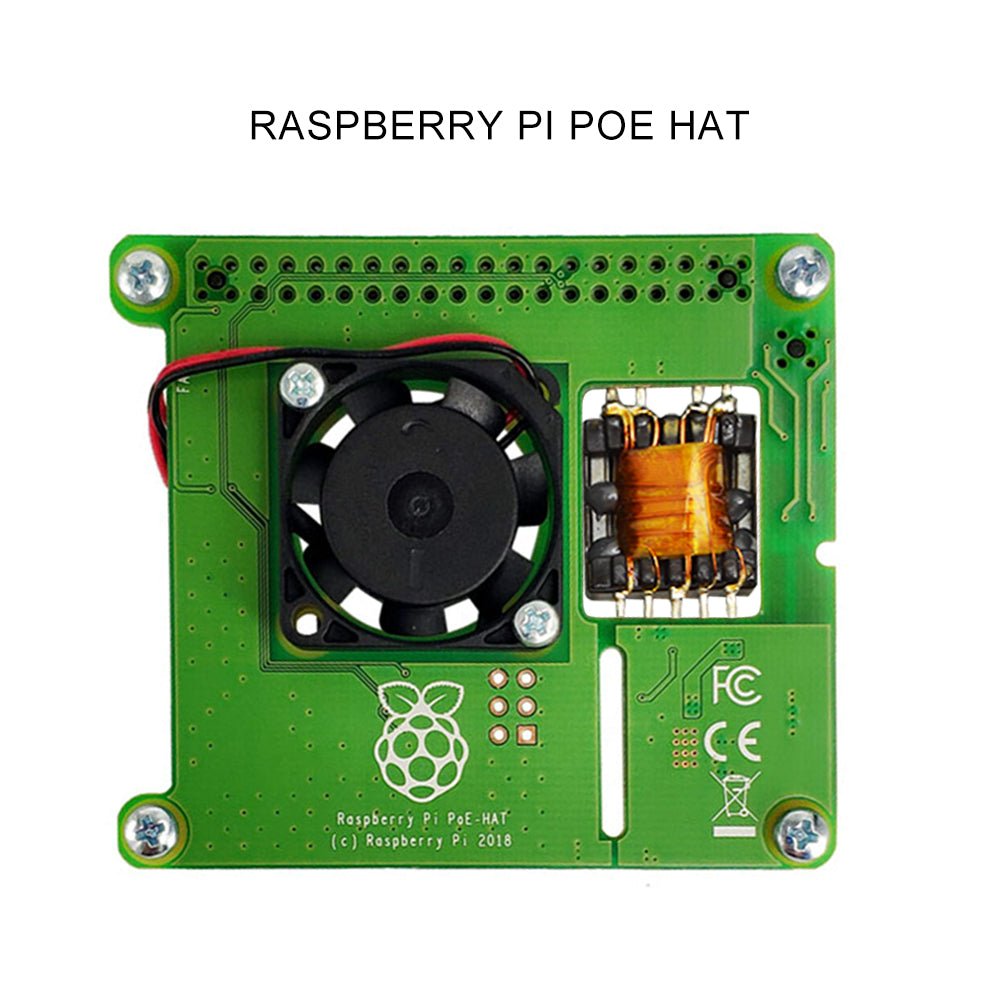 Raspberry Pi 4B/3B+ Ethernet PoE Power Supply Module POE HAT Expansion Board with Fan Cooling