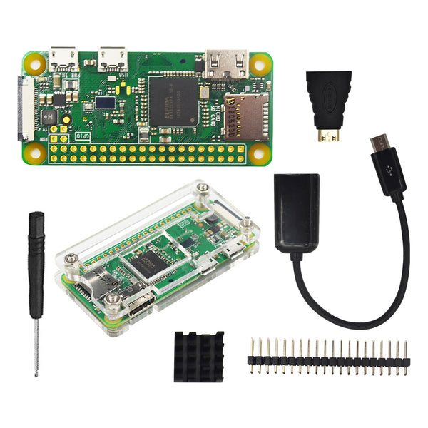 Raspberry Pi Zero W Starter Kit+ Acrylic Case + Heat Sink +2 x 20 pin GPIO Header better than Raspberry Pi Zero 1.3