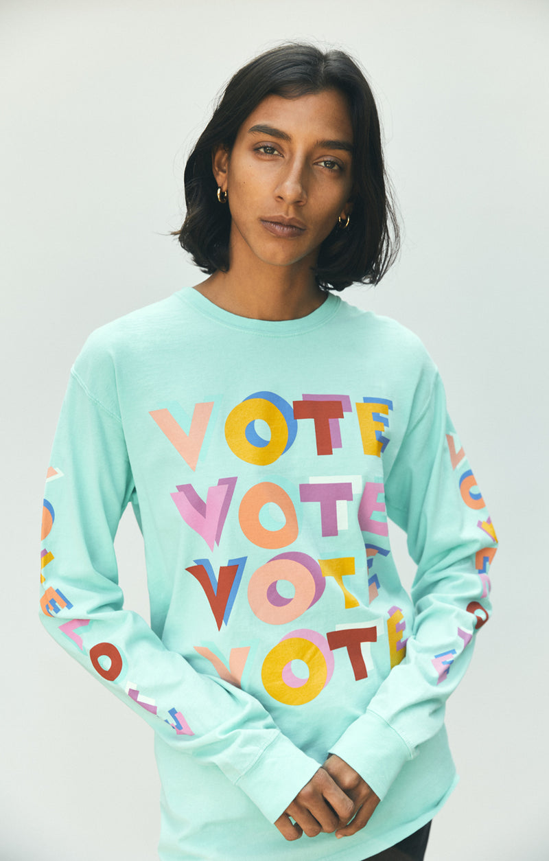 ACLU SoCal x Haas Brothers Long Sleeve Tee Turkwahz & Effect on model front