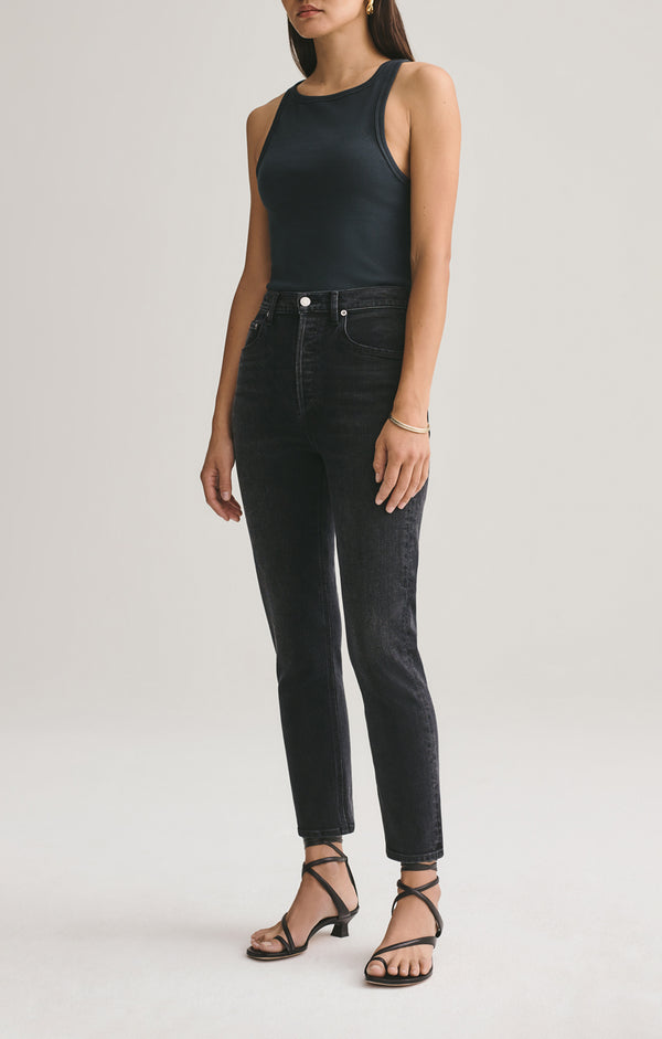 Riley high rise straight crop black pepper front